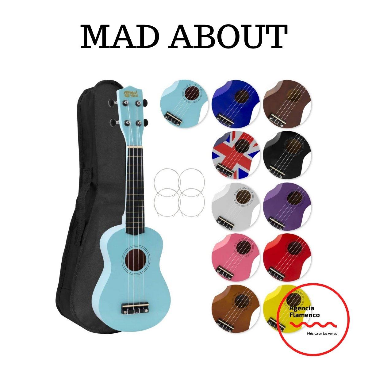 4 Mad About SU8 Ukelele soprano en azul claro con estuche