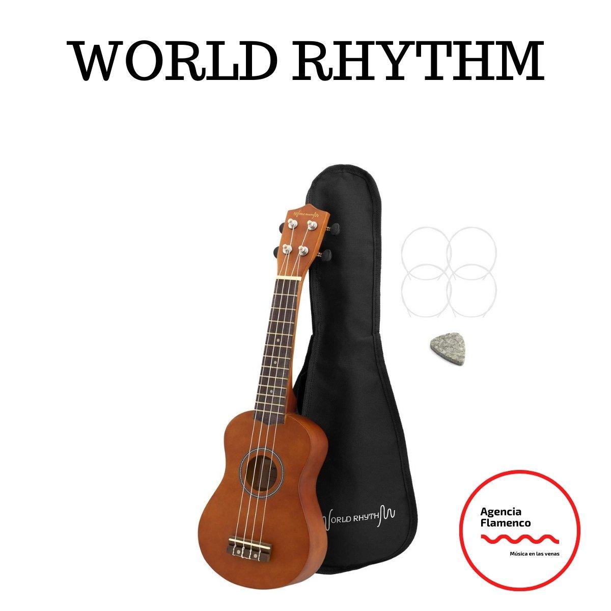 2 World Rhythm WR-302 - Ukelele soprano para principiantes, acabado natural