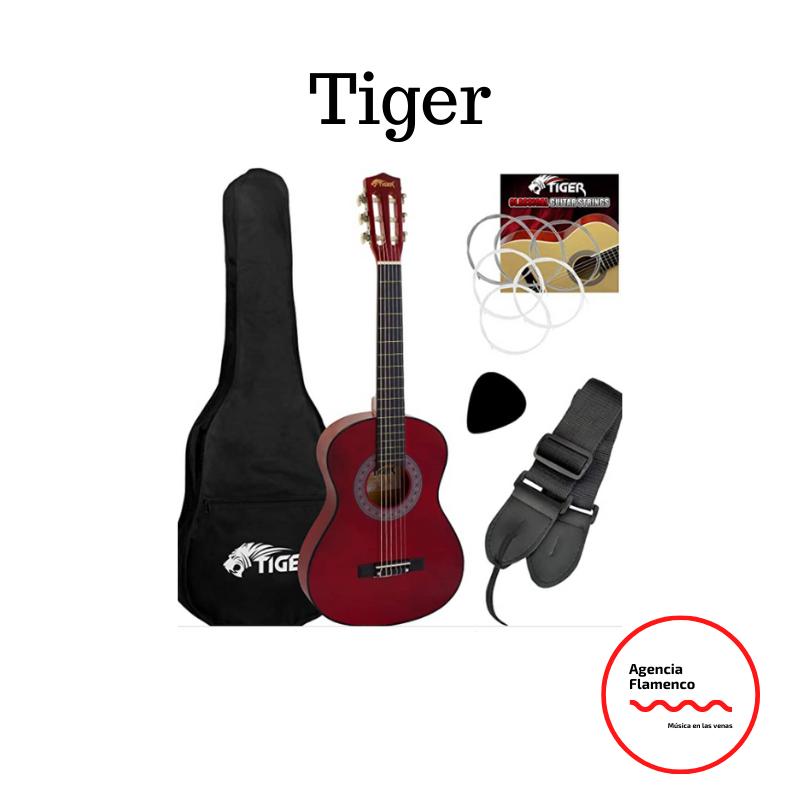 6. Tiger - Set de guitarra clásica de 3/4, color rojo