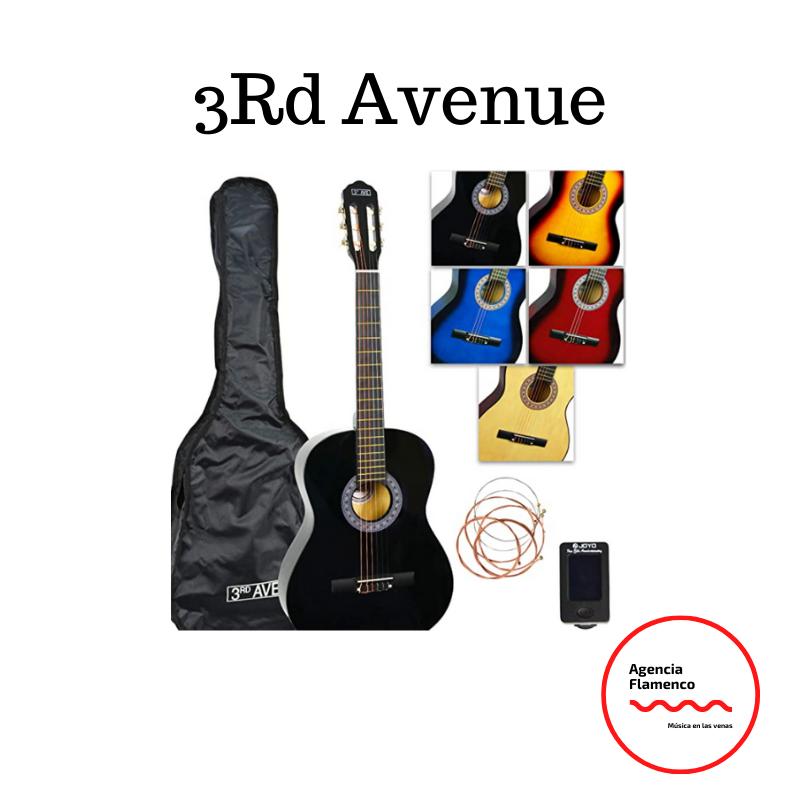 7. 3Rd Avenue. Paquete de Guitarra Clásica con Estuche, Afinador y Cuerdas de Repuesto