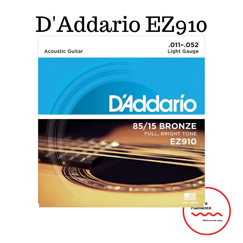 3. D'Addario EZ910 Juego de cuerdas para guitarra acústica de bronce